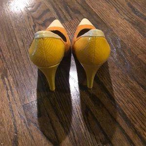 BCBGirls Shoes - BCBG leather snake print color block heels.